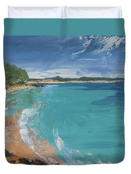 Duvet Cover featuring the painting Little Cove View by Chris Hobel