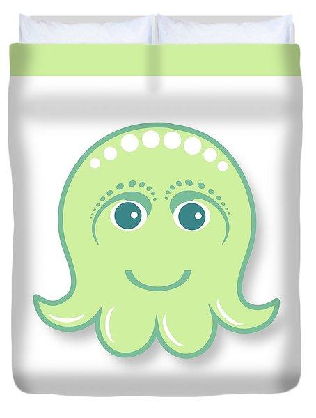 Little Cute Green Octopus Duvet Cover