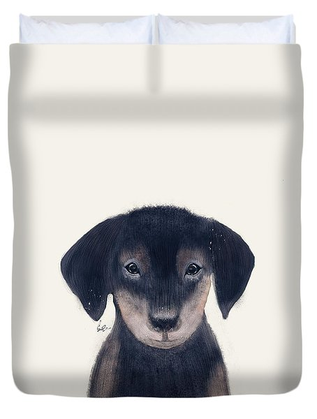 Duvet Cover featuring the painting Little Dachshund by Bri B