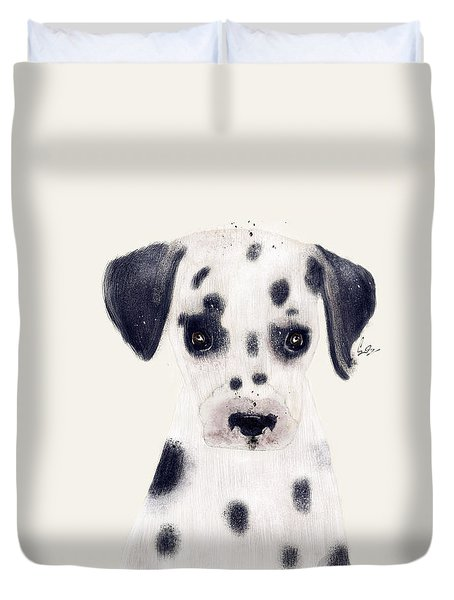 Duvet Cover featuring the painting Little Dalmatian by Bri B