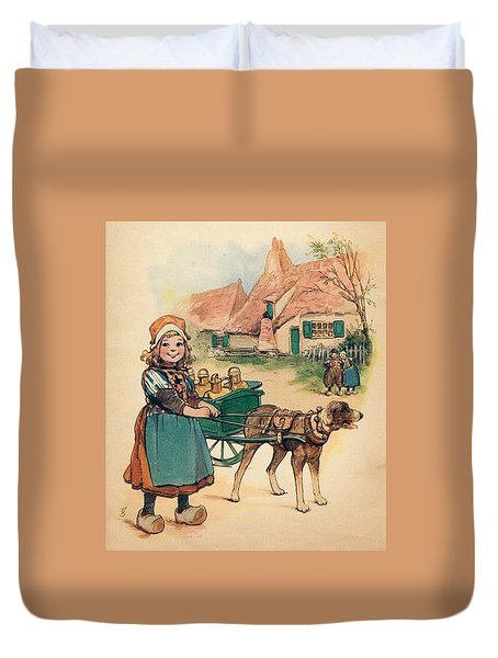 Little Dutch Girl With Milk Wagon Duvet Cover