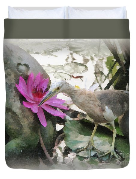 Little Egret Duvet Cover by Sergey Lukashin