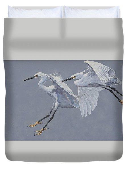 Little Egrets In Flight Duvet Cover