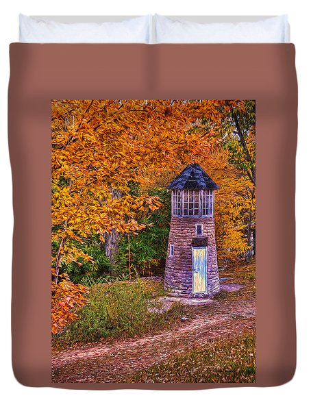 Little Falls Autumn Lighthouse Duvet Cover