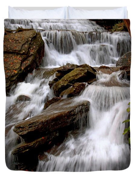 Duvet Cover featuring the photograph Little Four Mile Run Falls by Suzanne Stout
