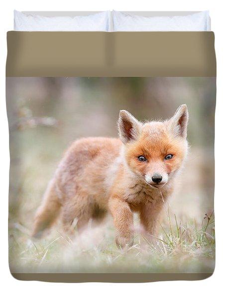 Little Fox Kit, Big World Duvet Cover by Roeselien Raimond