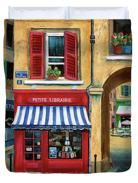 Little French Book Store Duvet Cover by Marilyn Dunlap
