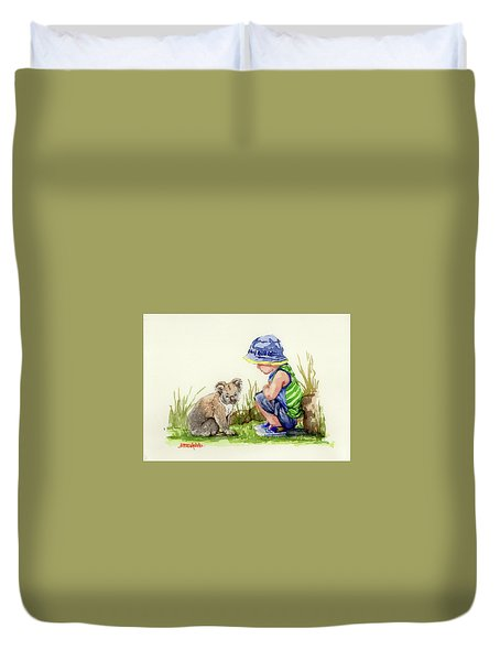 Duvet Cover featuring the painting Little Friends Watercolor by Margaret Stockdale