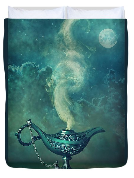 Little Genie Lamp Duvet Cover by Sandra Cunningham