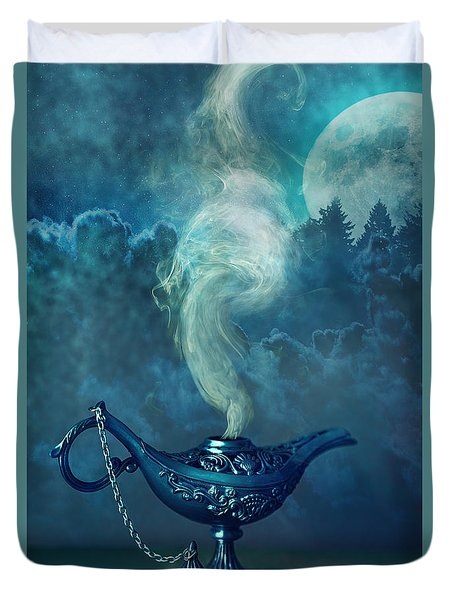 Little Genie Lamp With Smoke Duvet Cover by Sandra Cunningham