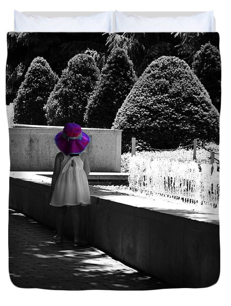 Little Girl In Magenta Hat Black And White Selective Color Duvet Cover