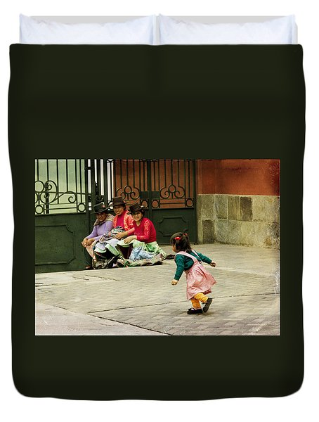 Little Girl On The Streets Of Lima, Peru Duvet Cover