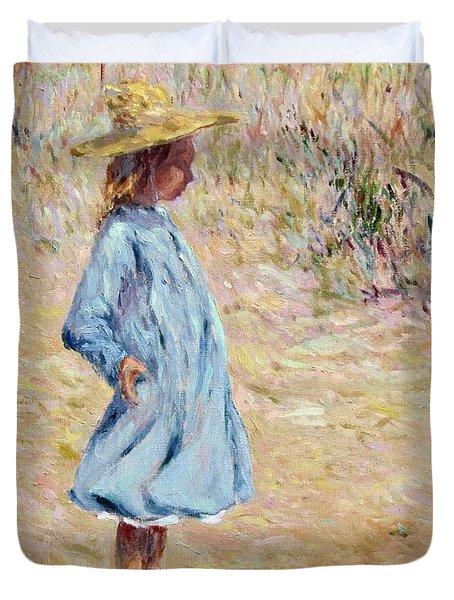 Little Girl With Blue Dress Duvet Cover
