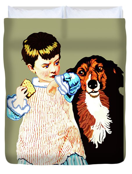 Little Girl With Hungry Mutt Duvet Cover