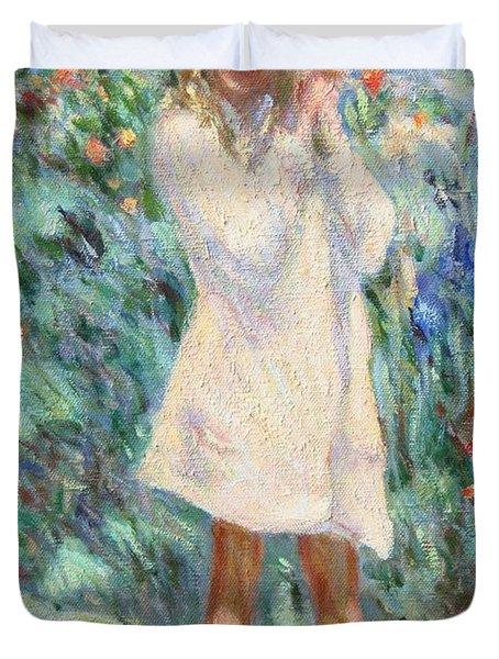 Little Girl With Roses / Detail Duvet Cover