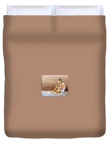 Duvet Cover featuring the painting Little Girl With Sea Shell by Natalia Tejera