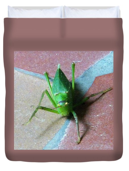 Duvet Cover featuring the photograph Little Grasshopper by Denise Fulmer