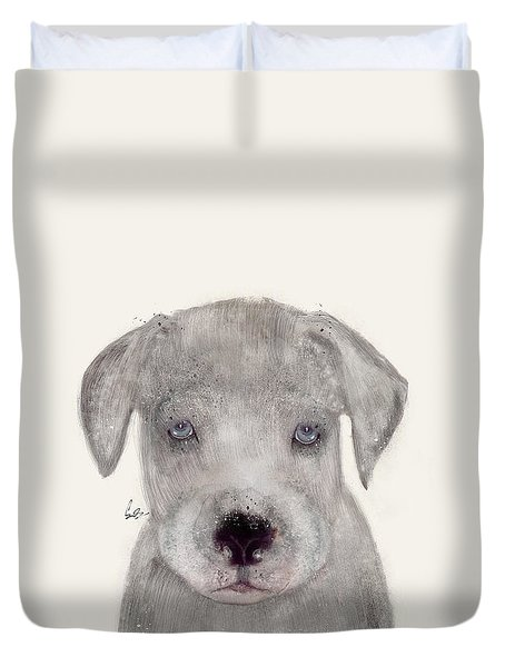 Duvet Cover featuring the painting Little Great Dane by Bri B