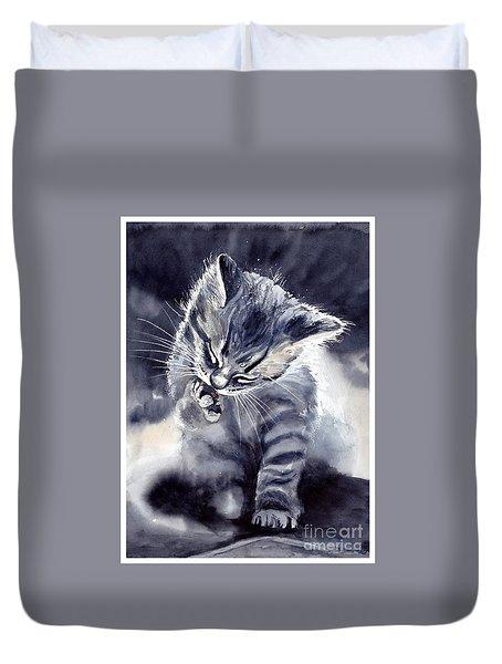 Little Grey Cat Duvet Cover