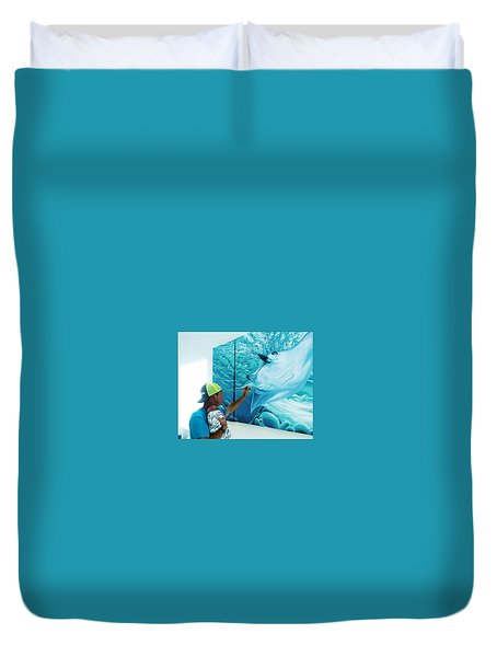 Duvet Cover featuring the digital art Little Helper by William Love