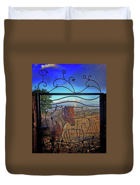 Duvet Cover featuring the painting Little Horse Little Rainbow by Marti McGinnis
