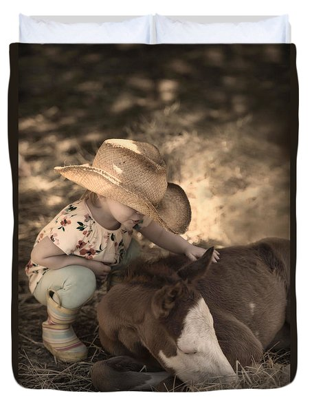 Duvet Cover featuring the photograph Little Horse Whisperer2 by Robin-Lee Vieira
