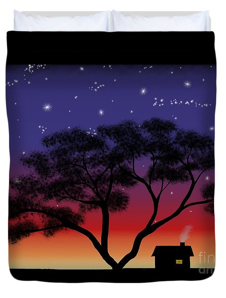 Little House At Sunset Duvet Cover