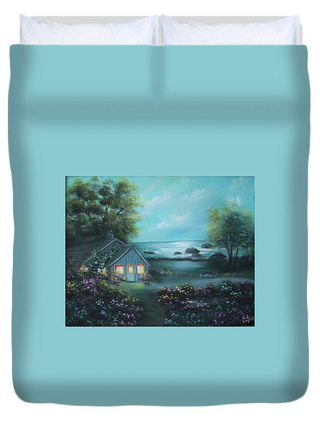 Little House By The Sea Duvet Cover
