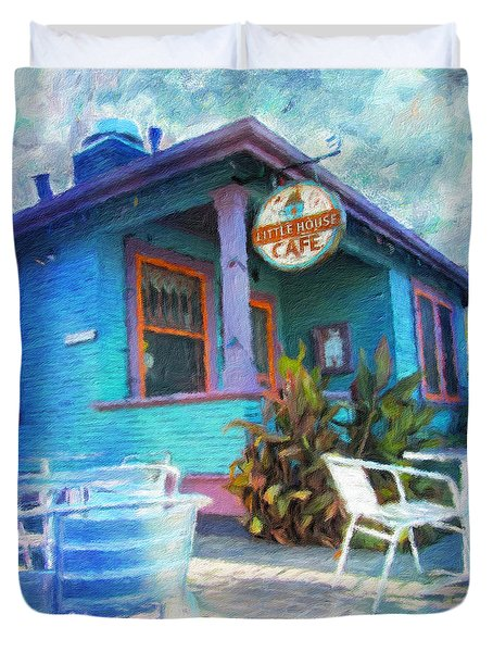Little House Cafe  Duvet Cover by Linda Weinstock