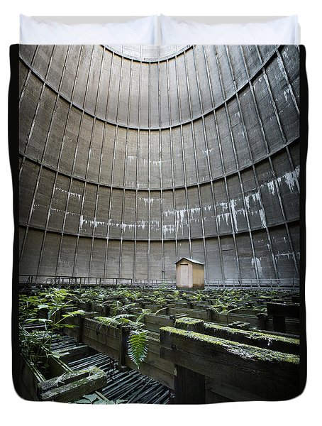 Duvet Cover featuring the photograph Little House Inside Industrial Cooling Tower by Dirk Ercken