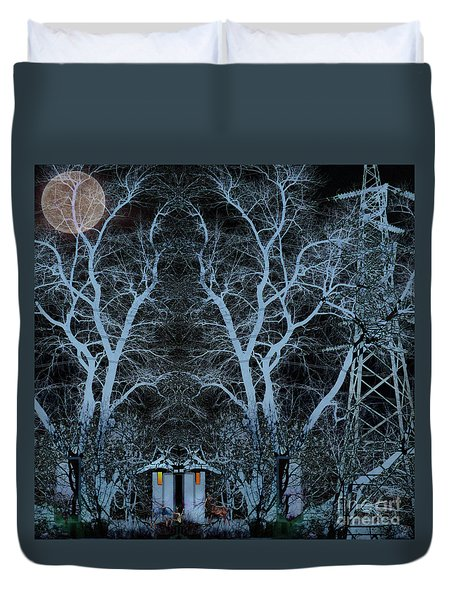 Little House In The Woods Duvet Cover