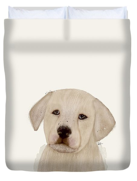 Duvet Cover featuring the painting Little Labrador by Bri B