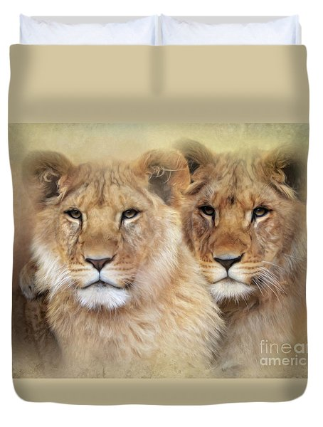 Duvet Cover featuring the digital art Little Lions by Trudi Simmonds