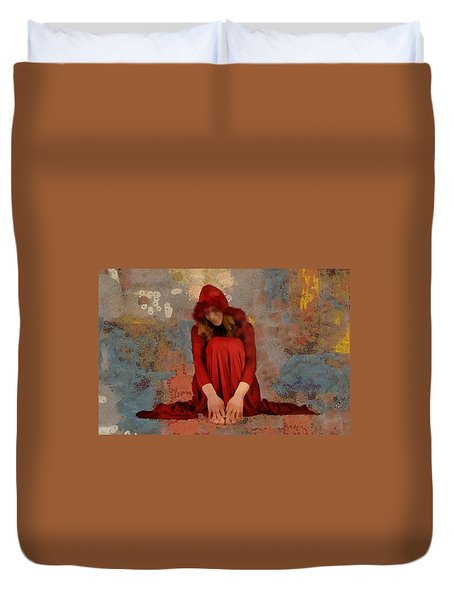 Duvet Cover featuring the mixed media Little Mel Riding Hood by Trish Tritz