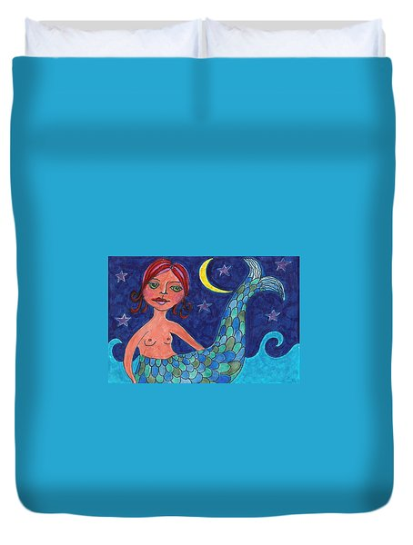 Duvet Cover featuring the mixed media Little Mermaid by Lisa Noneman