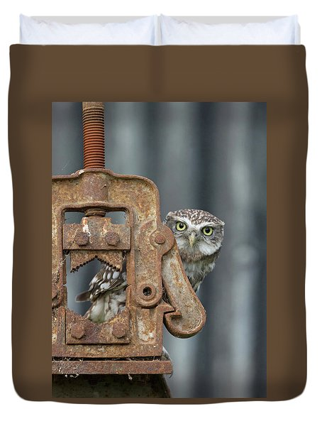 Little Owl Peeking Duvet Cover