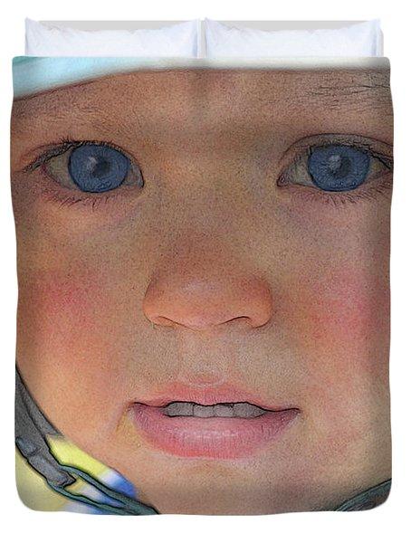 Little Pilgrim Myles Alden At 1yo Duvet Cover