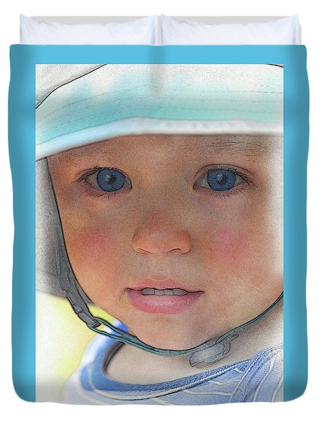 Little Pilgrim Myles Alden At 1yo Duvet Cover