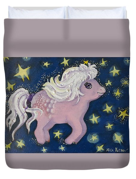 Little Pink Horse Duvet Cover by Rita Fetisov