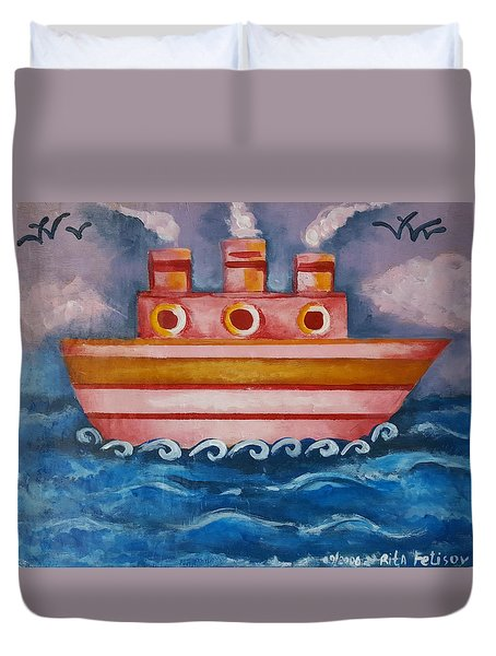Little Pink Ship Duvet Cover by Rita Fetisov