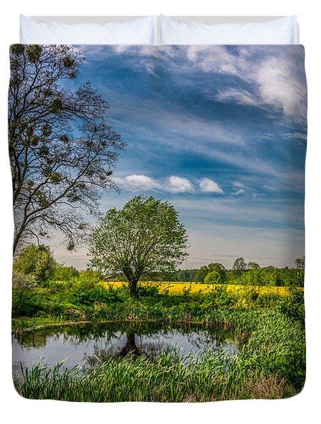 Little Pond Near A Rapeseed Field Duvet Cover