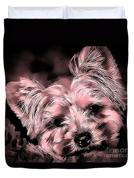 Duvet Cover featuring the photograph Little Powder Puff by Kathy Tarochione