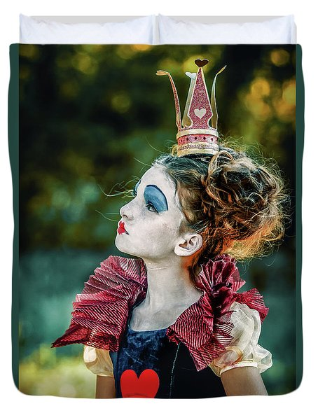 Duvet Cover featuring the photograph Little Princess Of Hearts Alice In Wonderland by Dimitar Hristov