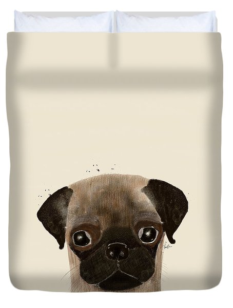 Duvet Cover featuring the photograph Little Pug by Bri B