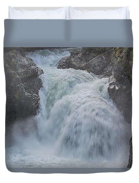 Little Qualicum Upper Falls Duvet Cover by Randy Hall