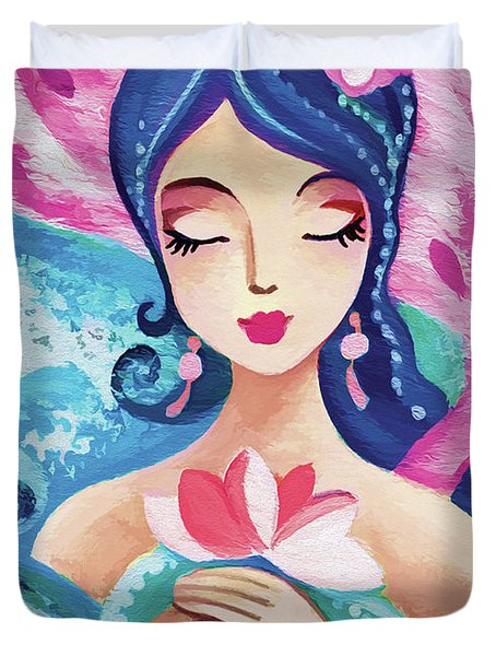 Little Quan Yin Mermaid Duvet Cover