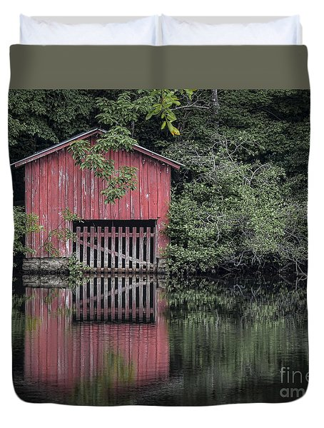 Little Red Boathouse Duvet Cover