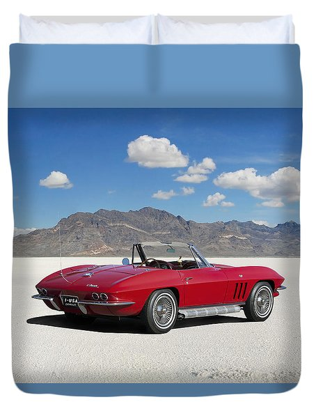 Duvet Cover featuring the digital art Little Red Corvette by Peter Chilelli