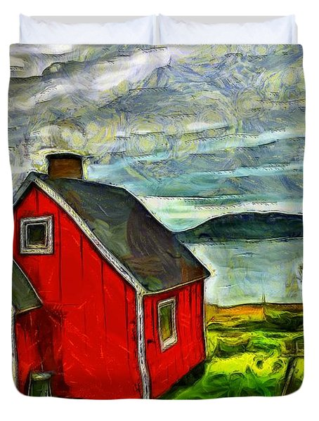 Duvet Cover featuring the painting Little Red House In Greenland by Mario Carini