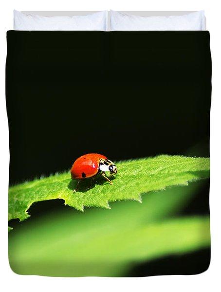 Little Red Ladybug On Green Leaf Duvet Cover